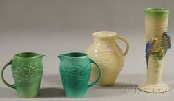 Three Susie Cooper Glazed Art Pottery Pitchers and a Clarice Cliff
